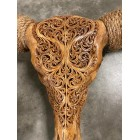 Longhoorn skull gegraveerd echt - Cognac - Premium - 150 cm