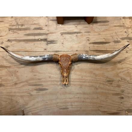 Longhoorn skull gegraveerd echt - Cognac - Premium - 160 cm