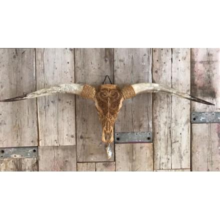 Gegraveerde Longhorn skull XL