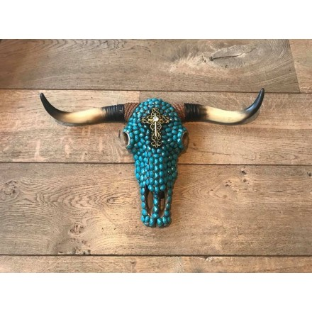 Skull ecru stenen turquois
