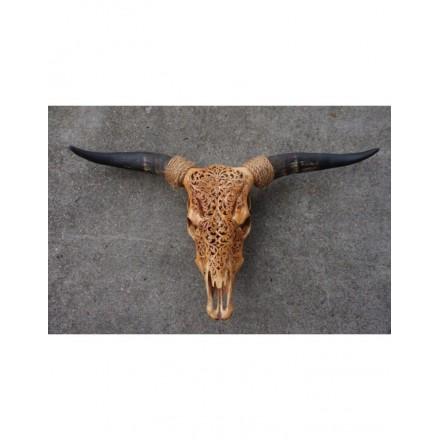 Gegraveerde Bull schedel bruin