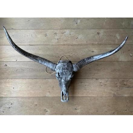 Longhorn skull 1 meter zilver