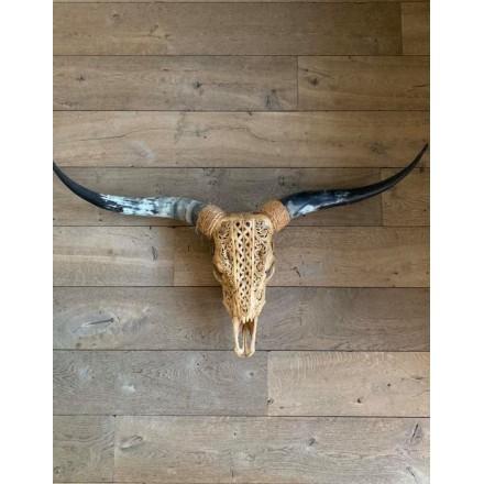 Longhoorn skull gegraveerd cognac Small